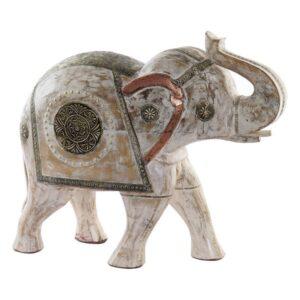 Figura Decorativa Dekodonia Latão Madeira de mangueira Elefante (51 x 20 x 45 cm)