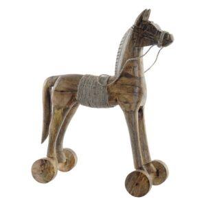 Figura Decorativa Dekodonia Cavalo Corda Madeira de mangueira Natural (38 x 10 x 50 cm)