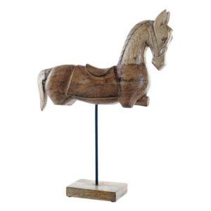 Figura Decorativa Dekodonia Cavalo Madeira de mangueira Natural (42 x 12 x 54 cm)