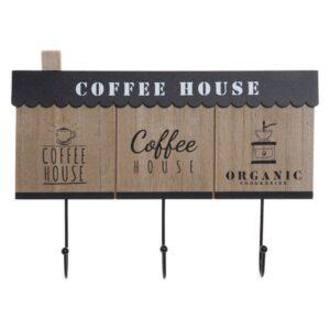 Bengaleiro de parede Dekodonia Coffee Madeira Metal (31 x 4 x 23 cm)