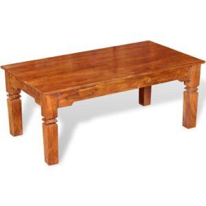 Mesa de centro em madeira de acácia maciça 110x60x45 cm - PORTES GRÁTIS