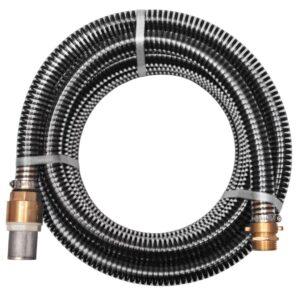 Mangueira de sucção com conectores de latão 7 m 25 mm preto - PORTES GRÁTIS