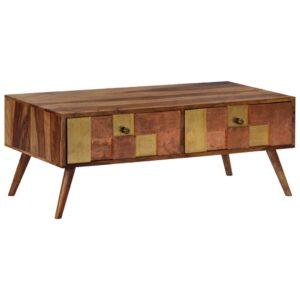 Mesa de centro 100x50x39 cm madeira de sheesham maciça - PORTES GRÁTIS