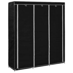 Roupeiro c/ compartimentos e varões 150x45x175 cm tecido preto - PORTES GRÁTIS