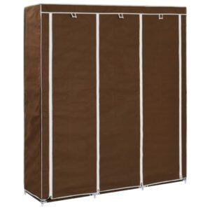 Roupeiro compartimentos e varões 150x45x175cm tecido castanho - PORTES GRÁTIS