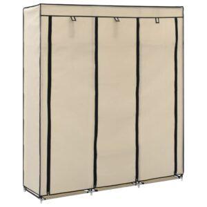 Roupeiro c/ compartimentos e varões 150x45x175 cm tecido creme - PORTES GRÁTIS