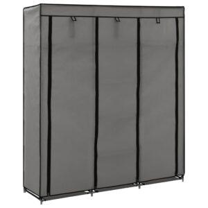Roupeiro c/ compartimentos e varões 150x45x175 cm tecido cinza - PORTES GRÁTIS