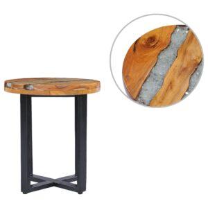 Mesa de centro 40x45 cm madeira de teca maciça e poliresina - PORTES GRÁTIS