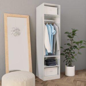 Roupeiro 50x50x200 cm contraplacado branco brilhante - PORTES GRÁTIS