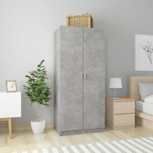 Roupeiro 80x52x180 cm contraplacado cinzento cimento - PORTES GRÁTIS