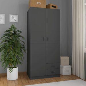 Roupeiro 80x52x180 cm contraplacado cinzento - PORTES GRÁTIS