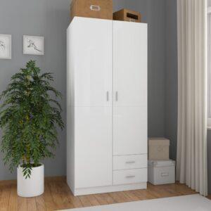 Roupeiro 80x52x180 cm contraplacado branco brilhante - PORTES GRÁTIS