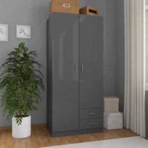 Roupeiro 80x52x180 cm contraplacado cinzento brilhante - PORTES GRÁTIS