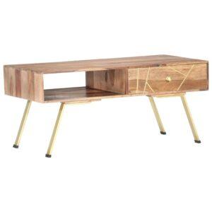 Mesa de centro 95x50x42 cm madeira de sheesham maciça - PORTES GRÁTIS