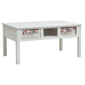 Mesa de centro 99,5x60x48 cm madeira branco - PORTES GRÁTIS