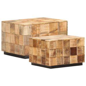 Mesas de centro 2 pcs c/ design blocos madeira mangueira áspera - PORTES GRÁTIS