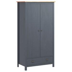 Roupeiro 2 portas Hill Range 89x50x170 cm pinho maciço cinzento - PORTES GRÁTIS