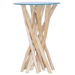 Mesa de centro c/ tampo de vidro 35x35x50cm madeira teca maciça - PORTES GRÁTIS