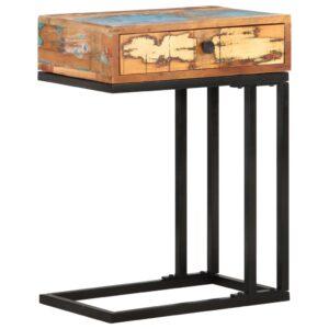 Mesa de apoio formato em U 45x30x61cm madeira recuperada maciça - PORTES GRÁTIS