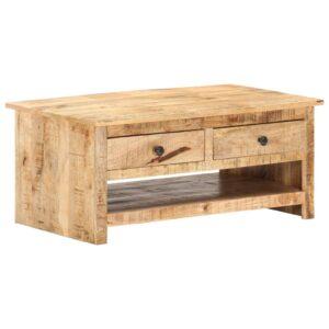 Mesa de centro 88x50x38 cm madeira de mangueira áspera - PORTES GRÁTIS