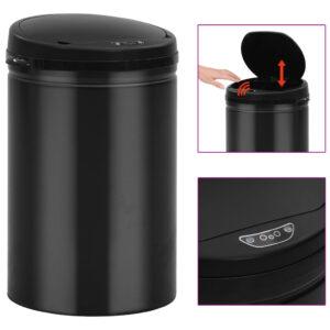 Caixote do lixo com sensor automático 30 L aço carbono preto - PORTES GRÁTIS