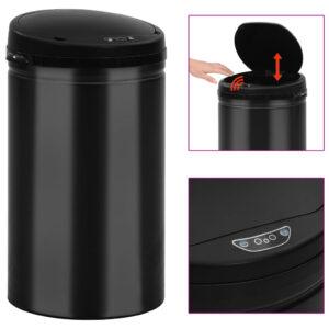 Caixote do lixo com sensor automático 40 L aço carbono preto - PORTES GRÁTIS