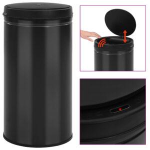 Caixote do lixo com sensor automático 60 L aço carbono preto - PORTES GRÁTIS