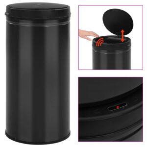 Caixote do lixo com sensor automático 70 L aço carbono preto - PORTES GRÁTIS