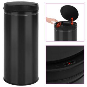 Caixote do lixo com sensor automático 80 L aço carbono preto - PORTES GRÁTIS