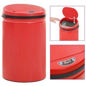 Caixote do lixo com sensor automático 30 L aço carbono vermelho - PORTES GRÁTIS