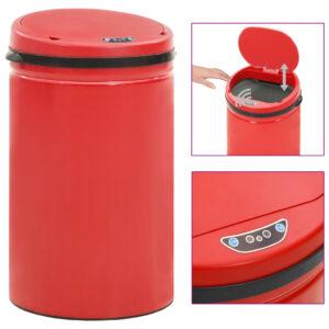 Caixote do lixo com sensor automático 40 L aço carbono vermelho - PORTES GRÁTIS
