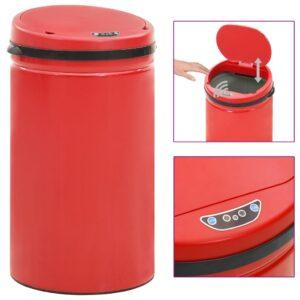 Caixote do lixo com sensor automático 50 L aço carbono vermelho - PORTES GRÁTIS