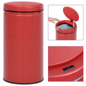 Caixote do lixo com sensor automático 60 L aço carbono vermelho - PORTES GRÁTIS
