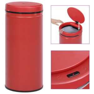 Caixote do lixo com sensor automático 80 L aço carbono vermelho - PORTES GRÁTIS