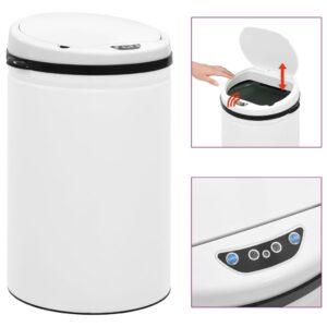 Caixote do lixo com sensor automático 30 L aço carbono branco - PORTES GRÁTIS