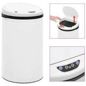 Caixote do lixo com sensor automático 40 L aço carbono branco - PORTES GRÁTIS