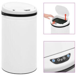 Caixote do lixo com sensor automático 50 L aço carbono branco - PORTES GRÁTIS
