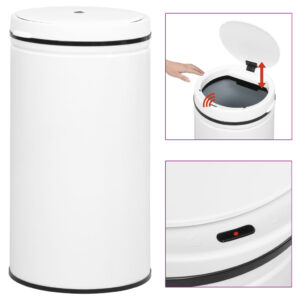 Caixote do lixo com sensor automático 60 L aço carbono branco - PORTES GRÁTIS
