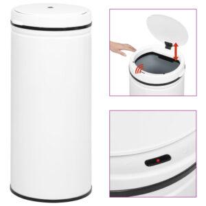 Caixote do lixo com sensor automático 80 L aço carbono branco - PORTES GRÁTIS