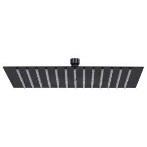 Cabeça de chuveiro quadrada 25x25 cm aço inoxidável preto - PORTES GRÁTIS