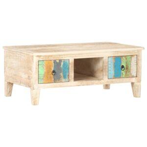 Mesa de centro 100x55x40 cm madeira de acácia áspera - PORTES GRÁTIS