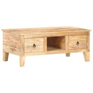 Mesa de centro 100x55x40 cm madeira de mangueira áspera - PORTES GRÁTIS