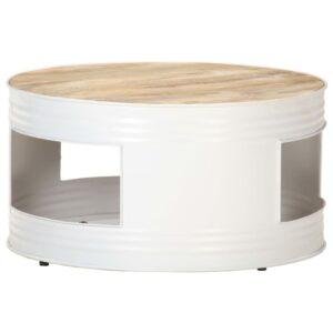 Mesa de centro 68x68x36 cm madeira de mangueira maciça branco - PORTES GRÁTIS