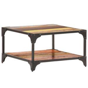 Mesa de centro 60x60x35 cm madeira recuperada maciça  - PORTES GRÁTIS