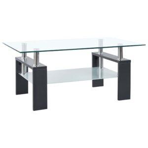 Mesa de centro 95x55x40 cm vidro temperado cinzento  - PORTES GRÁTIS