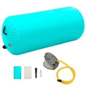 Rolo de ginástica/yoga insuflável com bomba 120x75 cm PVC verde - PORTES GRÁTIS
