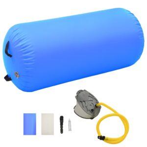 Rolo de ginástica/yoga insuflável com bomba 120x75 cm PVC azul - PORTES GRÁTIS