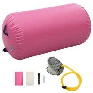 Rolo de ginástica/yoga insuflável com bomba 120x90 cm PVC rosa - PORTES GRÁTIS