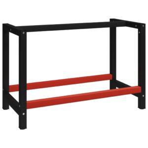 Estrutura banco de trabalho 120x57x79 cm metal preto e vermelho - PORTES GRÁTIS