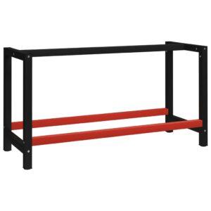 Estrutura banco de trabalho 150x57x79 cm metal preto e vermelho - PORTES GRÁTIS